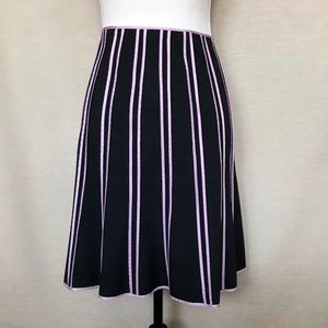 INC Black & Pink Striped Flare A-line Skirt